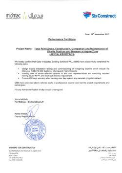 Midmac & Six Construct Performance Certificate